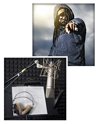 Rapper Posing For Photograph & Recording Equipment